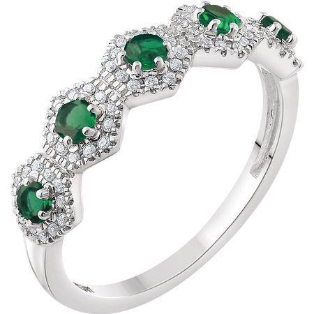14 KT White Gold Emerald & 1/5 Carat TW Diamond Ring