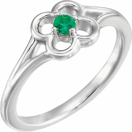 Genuine  14 Karat White Gold Emerald Flower Youth Ring