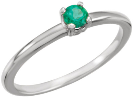 Genuine 14 Karat White Gold Emerald