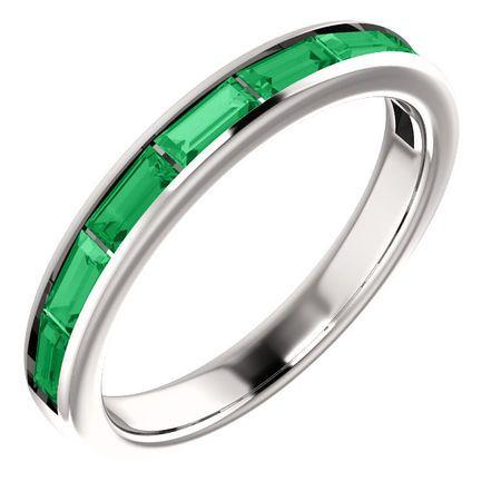 14 Karat White Gold Emerald Ring