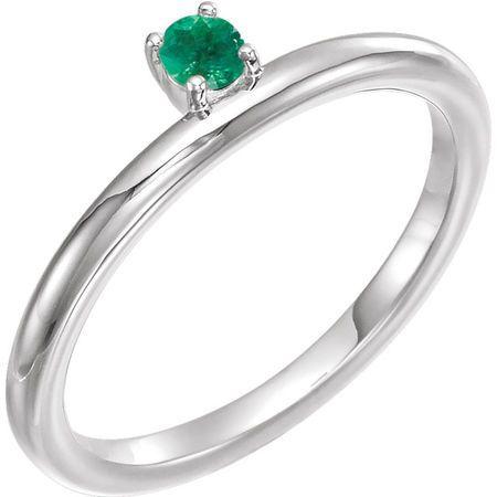 14 Karat White Gold Emerald Stackable Ring