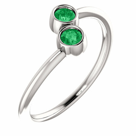 Genuine Emerald Ring in 14 Karat White Gold EmeraldTwo-Stone Ring