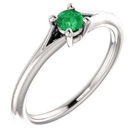 Genuine 14 Karat White Gold Emerald Youth Ring