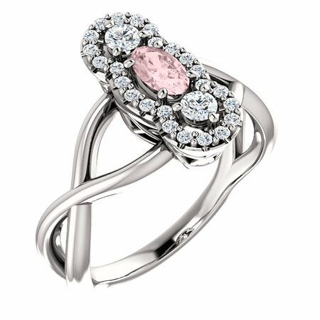 14 Karat White Gold Morganite & 0.25 Carat Diamond Ring