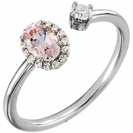 14 Karat White Gold Morganite & 0.17 Carat Diamond Ring