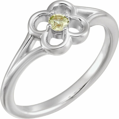14 Karat White Gold Peridot Flower Youth Ring
