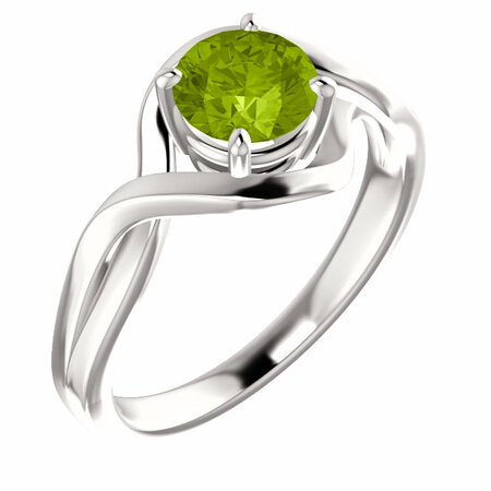 14 Karat White Gold Peridot Ring