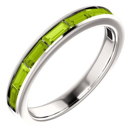 14 Karat White Gold Peridot Ring