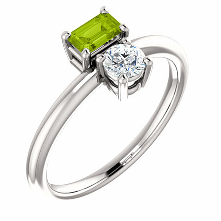 Quality 14 Karat White Gold Gold Peridot & Sapphire Two-Stone Ring
