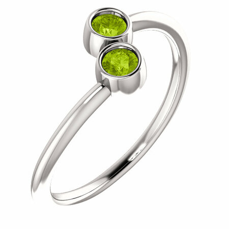 14 Karat White Gold Peridot Two-Stone Ring