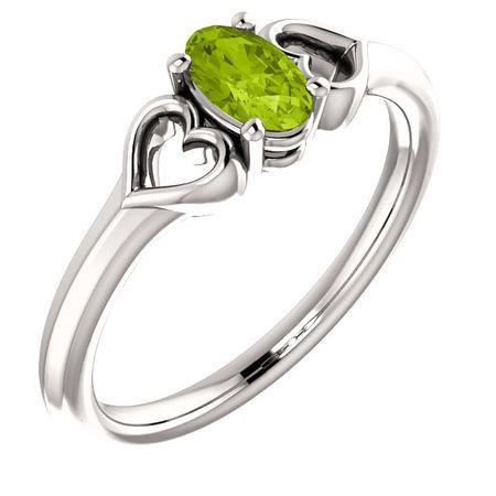 Buy 14 Karat White Gold Peridot Youth Heart Ring