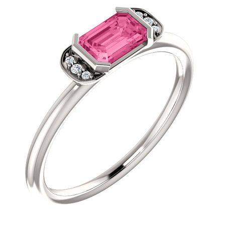 14 Karat White Gold  Pink Tourmaline & .02 Carat Diamond Stackable Ring