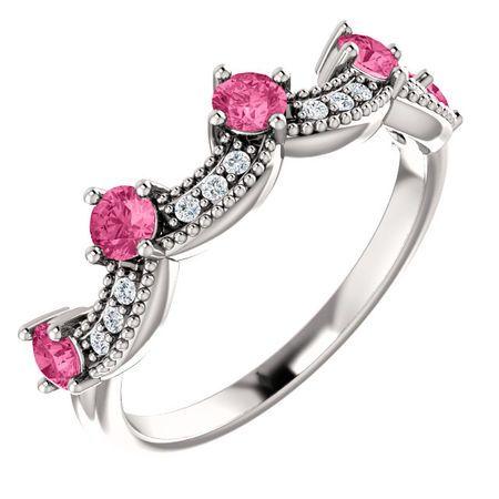 14 Karat White Gold Pink Tourmaline & .06 Carat Diamond Crown Ring