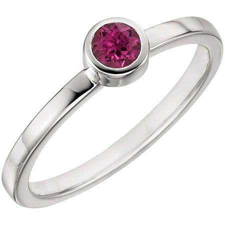 Genuine 14 Karat White Gold Pink Tourmaline Ring