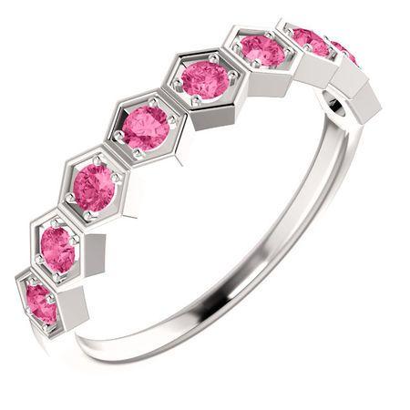 14 Karat White Gold Pink Tourmaline Stackable Ring