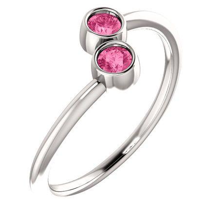 Buy 14 Karat White Gold Pink Tourmaline Two-Stone Ring