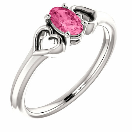 14 Karat White Gold Pink Tourmaline Youth Heart Ring