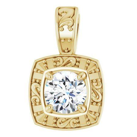 White Diamond Pendant in 14 Karat Yellow Gold 4.1mm Round 0.33 Carat Diamond Pendant
