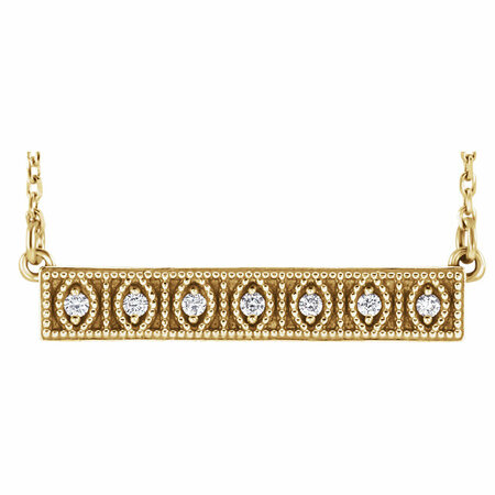 Genuine Diamond Necklace in 14 Karat Yellow Gold .06 Carat Diamond MilgraBar 16-18