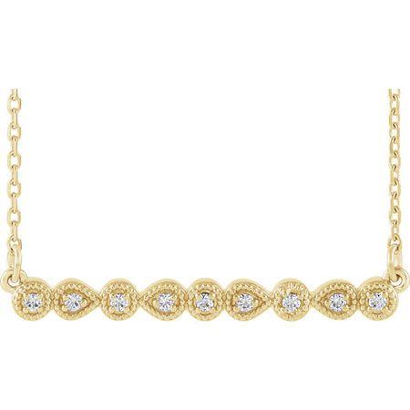 Natural Diamond Necklace in 14 Karat Yellow Gold .07 Carat Diamond MilgraBar 16-18