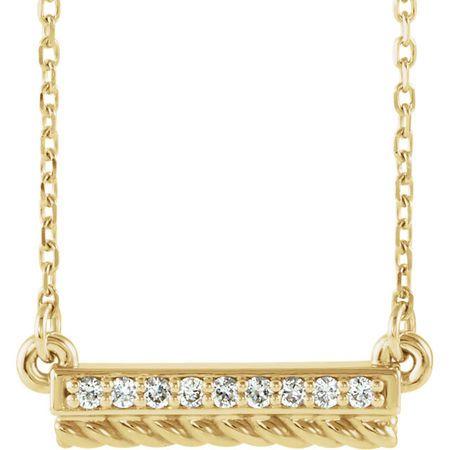 Genuine Diamond Necklace in 14 Karat Yellow Gold .08 Carat Diamond Rope Bar 16-18