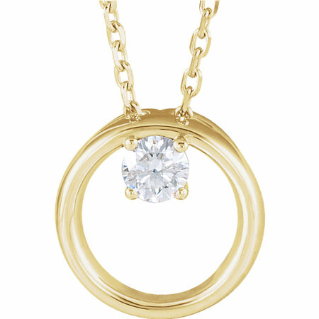 Genuine Diamond Necklace in 14 Karat Yellow Gold 0.10 Carat Diamond Circle 16-18