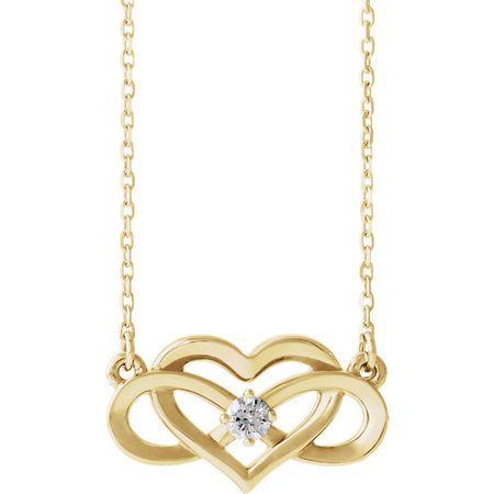 Genuine Diamond Necklace in 14 Karat Yellow Gold 0.10 Carat Diamond Infinity-Inspired Heart 16-18