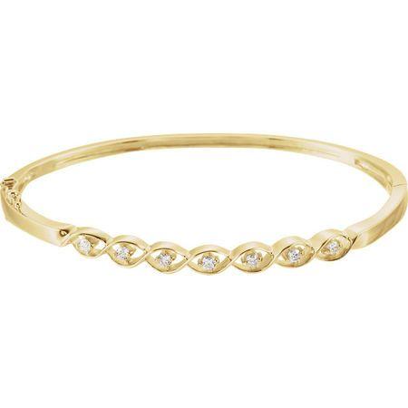 White Diamond Bracelet in 14 Karat Yellow Gold 0.25 Carat Diamond Bangle Bracelet