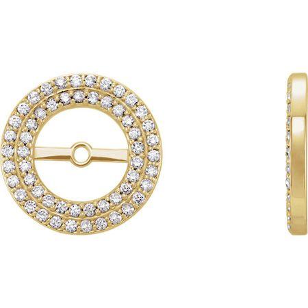 White Diamond Earrings in 14 Karat Yellow Gold 0.25Carat Diamond Earring Jackets