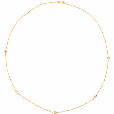 White Diamond Necklace in 14 Karat Yellow Gold 1 5/8 Carat Diamond Bezel 24