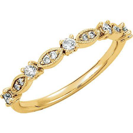 14 Karat Yellow Gold Gold 0.20 Carat TW Diamond Granulated Stackable Ring Size 7