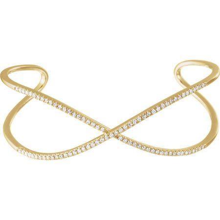 Shop 14 Karat Yellow Gold 0.75 Carat Diamond Criss-Cross Cuff 7