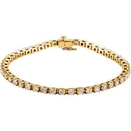 Chic 14 Karat Yellow Gold 4 0.50 Carat Weight Diamond Line 7.25