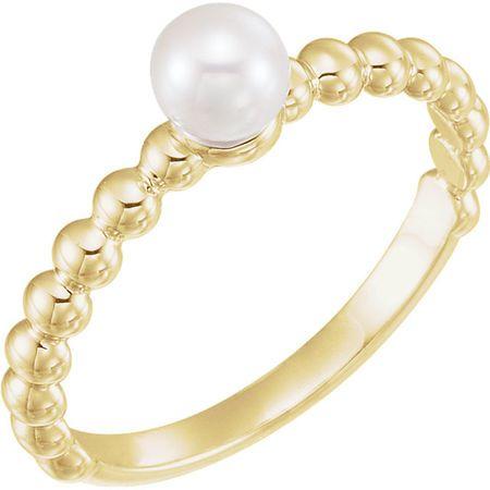 14 Karat Yellow Gold 4.5-5mm Freshwater Pearl Ring