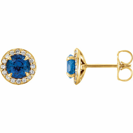 14 Karat Yellow Gold 4.5mm Round Genuine Chatham Blue Sapphire & 0.17 Carat Diamond Earrings