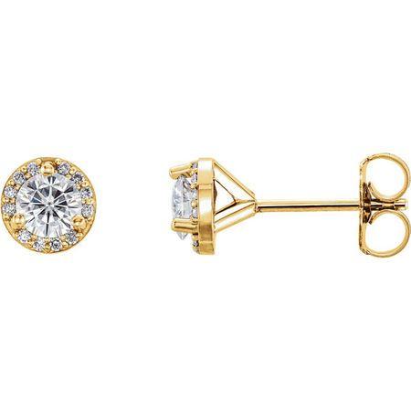 14 Karat Yellow Gold 4mm Round Genuine Charles Colvard Forever One Moissanite & .07 Carat Diamond Earrings