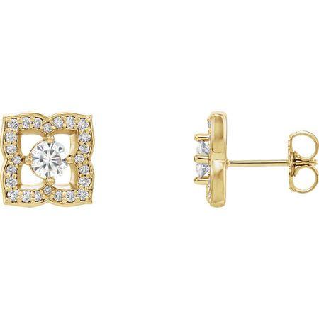 Genuine 14 Karat Yellow Gold 4mm Round Genuine Charles Colvard Forever One Moissanite & 0.33 Carat Diamond Earrings