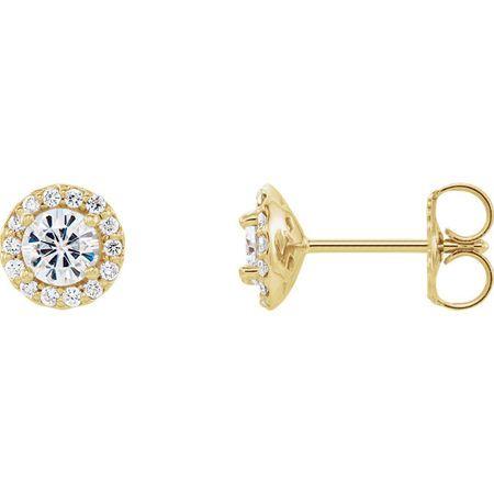 14 Karat Yellow Gold 4mm Round Genuine Charles Colvard Forever One Moissanite and 0.12 Carat Diamond Earrings