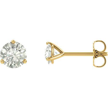 14 Karat Yellow Gold 4mm Round Genuine Charles Colvard Forever One Moissanite Earrings
