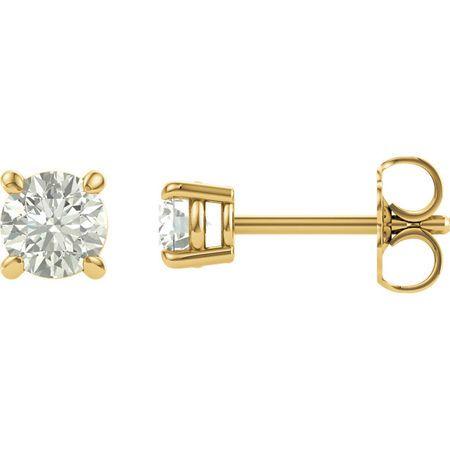 Buy 14 Karat Yellow Gold 4mm Round Genuine Charles Colvard Forever One Moissanite Earrings