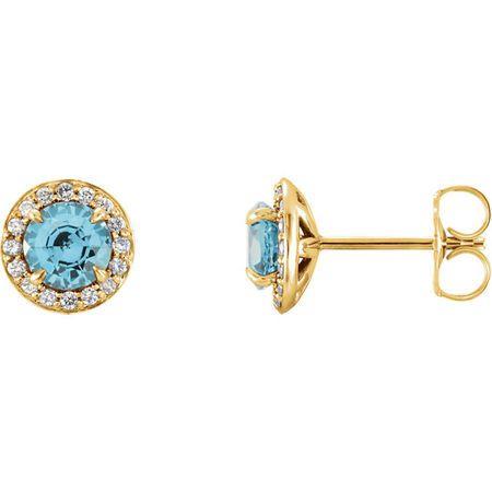 Genuine Zircon Earrings in 14 Karat Yellow Gold 4mm Round Zircon & 0.17 Carat Diamond Halo-Style Earrings