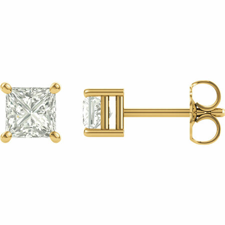 Genuine 14 Karat Yellow Gold 5.5mm Square Genuine Charles Colvard Forever One Moissanite Earrings