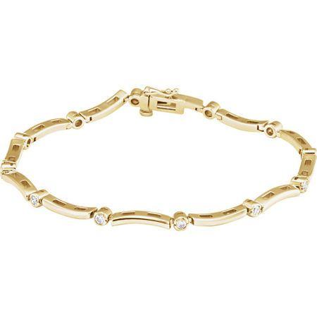 Genuine 14 Karat Yellow Gold .50 Carat Diamond Line Bracelet