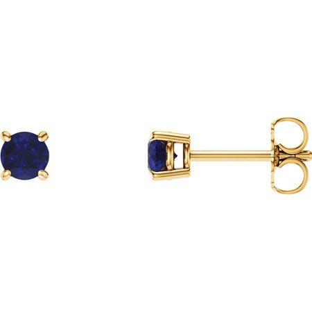 14 Karat Yellow Gold 5mm Round Genuine Chatham Blue Sapphire Earrings