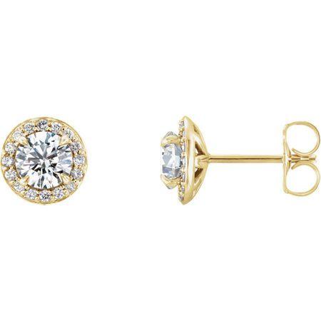 14 Karat Yellow Gold 5mm Round Genuine Charles Colvard Forever One Moissanite & 0.12 Carat Diamond Earrings