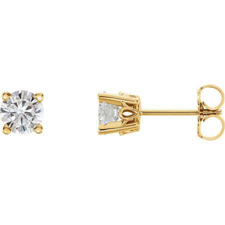 Genuine 14 Karat Yellow Gold 5mm Round Genuine Charles Colvard Forever One Moissanite Earrings