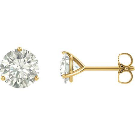 14 Karat Yellow Gold 5mm Round Genuine Charles Colvard Forever One Moissanite Earrings