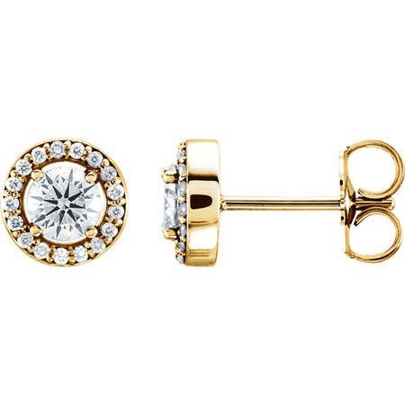 14 Karat Yellow Gold 6.5mm Round Genuine Charles Colvard Forever One Moissanite & .08 Carat Diamond Earrings