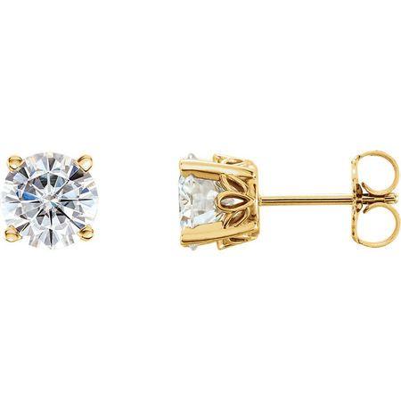 Genuine 14 Karat Yellow Gold 6.5mm Round Genuine Charles Colvard Forever One Moissanite Earrings