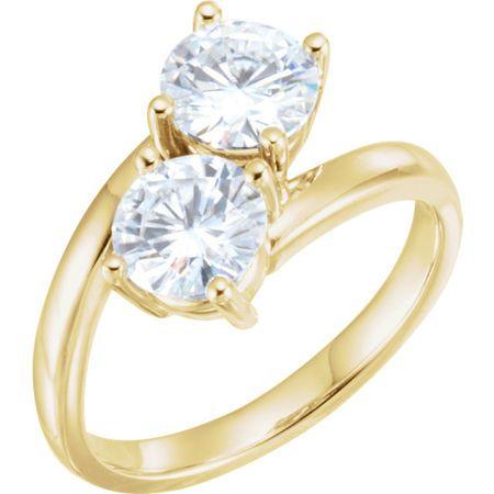 Buy 14 Karat Yellow Gold 6.5mm Round Genuine Charles Colvard Forever One Moissanite Ring